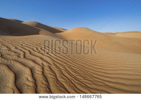 Sandtunes in Liwa desert in Aby Dhabi UAE at sunrise