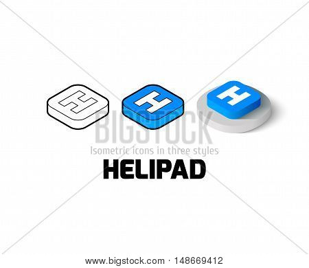 Helipad icon, vector symbol in flat, outline and isometric style