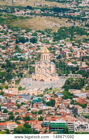 Top View Of Sameba Or Holy Trinity Cathedral Of Tbilisi, The Main Georgian Orthodox Church Erected On The Elia Hill Nowadays. Georgia