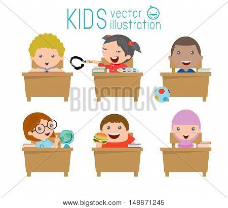 kids in classroom, child in classroom, kids studying in classroom,illustration of a kids studying in classroom, little school children, sitting at the desks,Back to school, Vector Illustration
