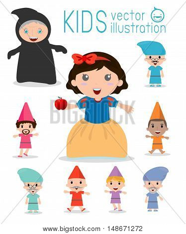 snow white and the seven dwarfs, Snow White, Princess and Dwarfs and witch, Vector Illustration.
