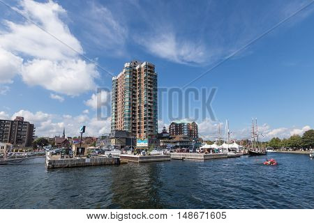 September 18, 2016 - Brockville, Ontario, Canada - Condos on the St. Lawrence Seaway city of Brockville