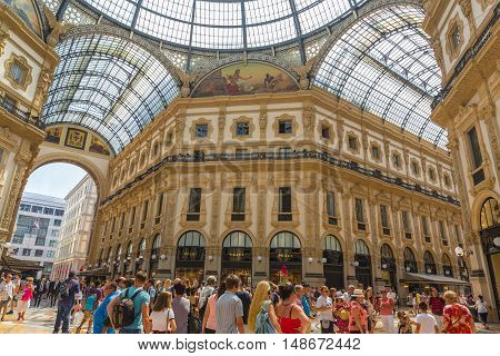 MILAN ITALY - AUGUST 03 2016: Galleria Vittorio Emanuele II in Milan one of the world's oldest shopping malls built between 1865 and 1877.