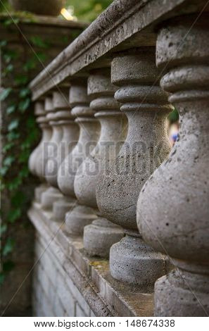 architecture detail stone old balustrade. selective focus