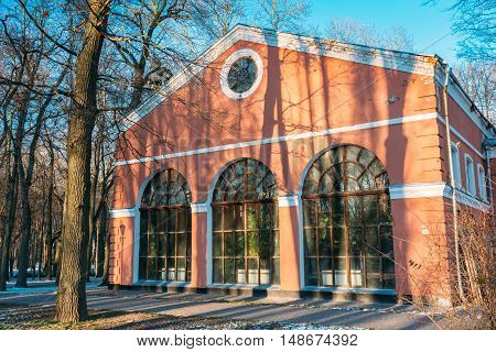 Winter Garden in the Gomel Park, Belarus. Building built in first half of XIX century. as construction of sugar factory.