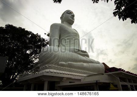 A beautiful white Buddha in Kandy (Sri Lanka)