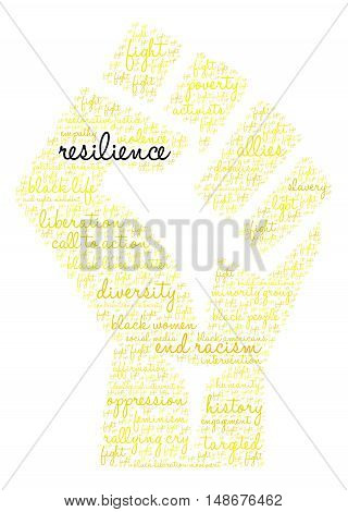 Resilience word cloud on a white background.