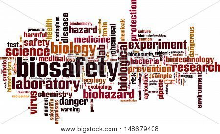 Biosafety word cloud concept. Vector illustration on white