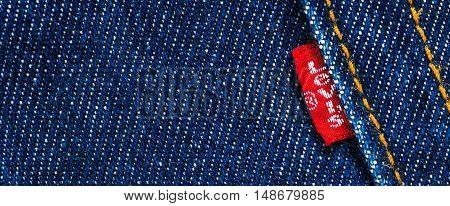 Estonia, Tallinn, 12.14.2015. Levis jeans emblem. Selective focus