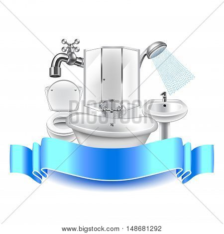 Plumbing composition isolated on white background blue ribbon for text