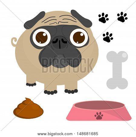 Pug dog, Pug Puppy, Pug dog set isolated on a white background, Vector Illustration