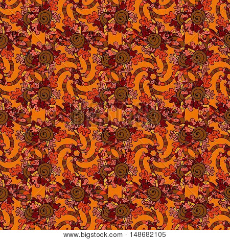 Seamless pattern with autumn curl design. Wilde grape with red orange leaves and berries. Autumn or fall design on dark background. Vector illustration stock vector.