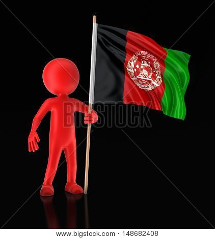 3D Illustration. Man and Afghani  flag. Image with clipping path