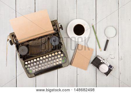 Writer's Workplace - Wooden Desk With Typewriter