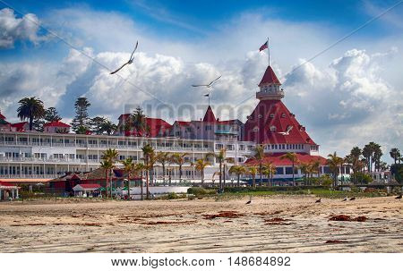 Beach view of Hotel del Coronado in San Diego