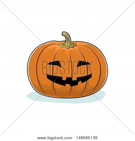 Carved Grinning Scary Halloween Pumpkin on White Background ,a Jack-o-Lantern ,Vector Illustration