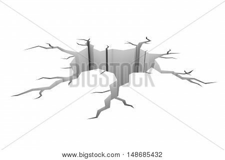 Cartoon Style Cracked Hole In Ground Isolated On White 3D Illustration