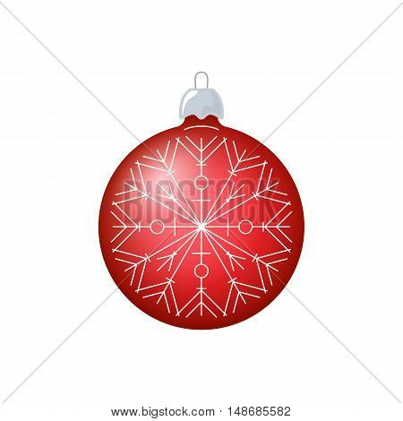 Christmas Red Ball with Snowflake Isolated on White Background, Christmas Tree Decoration ,Merry Christmas and Happy New Year, Vector Illustration