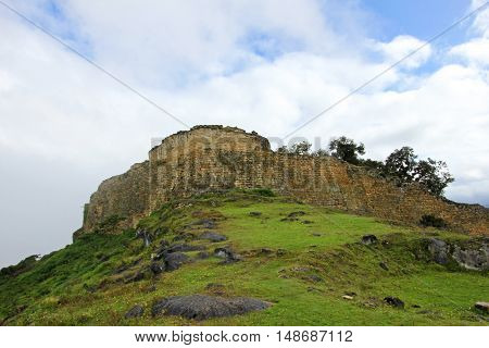 Pre inca ruin Kuelap high up in the north peruvian mountains near Chachapoyas. It was built to be a fortress.