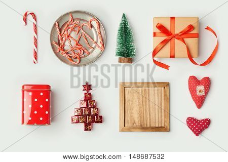 Christmas decorations and objects for mock up template design.View from above. Flat lay
