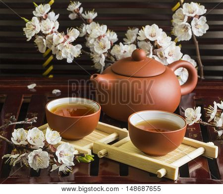 Chinese Tea Set With Spring Flowers