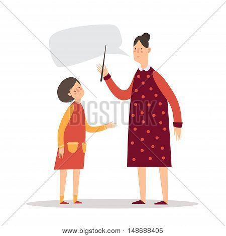 The teacher and student. A little girl listens to the teacher.