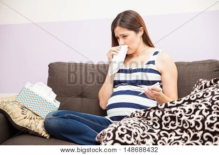 Pregnant Woman With A Cold