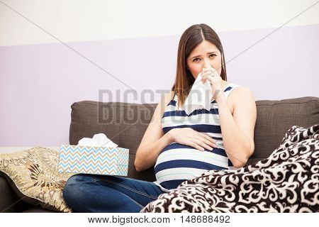 Woman With A Cold During Pregnancy