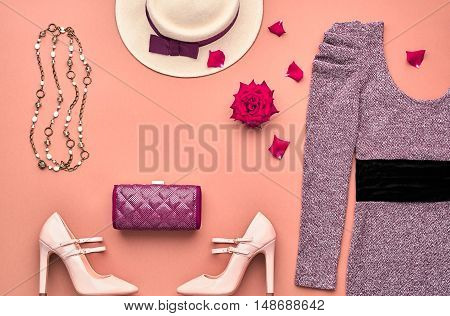 Autumn Fashion woman Clothes Accessories Set. Fashion Dress, Stylish Handbag Clutch, Glamor Heels, Rose. Trendy fashion Design. Top view. Fall Fashion. Outfit. Vintage Retro. Elegant Creative Overhead
