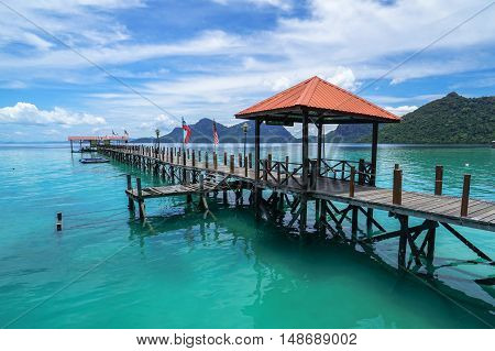 Semporna,Sabah-Sep 10,2016:View of Blue ocean,tropical island at Bohey Dulang tropical island,Semporna,Sabah.Bohey Dulang Island is one of the most popular islands in Tun Sakaran Marine Park.