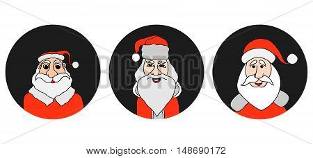 Santa Claus colorful round icons set. Old man with White Beard in Santa Cap. Digital background vector illustration.