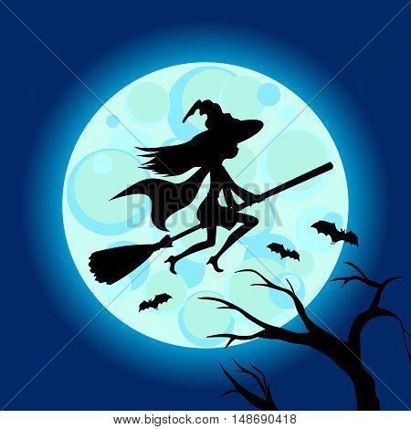Halloween illustration of mysterious night with full moon.