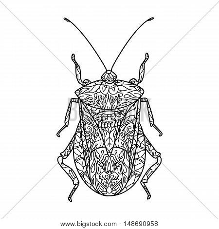 Vector illustration of a bug. Vector monochrome coloring page. Contour drawing in Zentangle style. Illustration for coloring book. Stock vector.