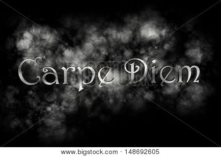 Carpe diem 3D Render- latin phrase that means Capture the moment on black background with white smoke poster