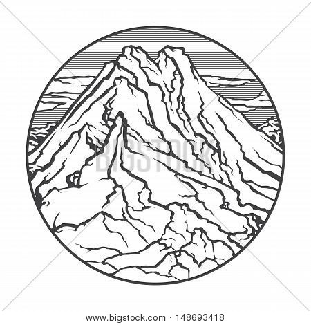 Vector image of a volcano Merapi on the background of nature and sky.round black white icon thumbnail