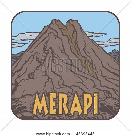Vector image of a volcano Merapi on the background of nature and sky.square color thumbnail icon