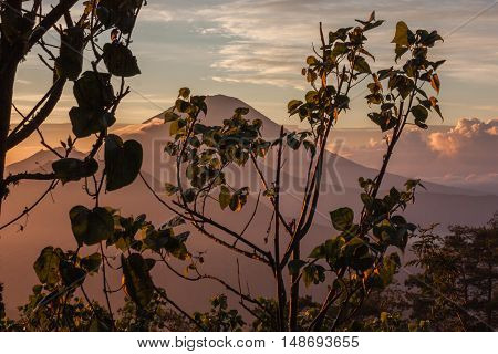 Trip to Volcano Agung on Bali island during sunrise. Beautiful view, landscape color photo.