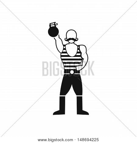 Strong man with kettlebell icon in simple style on a white background vector illustration