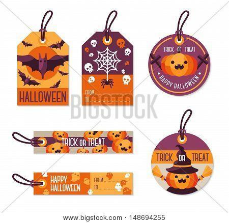 Set of Halloween Gift Tags. Vector Illustration. Flat Holiday Symbols. Orange Pumpkin, Flying Bats, Spider with Web