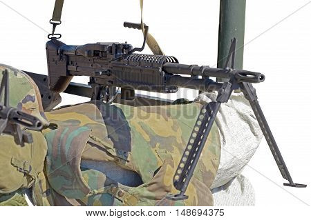 the M60 machine gun on position on the white background