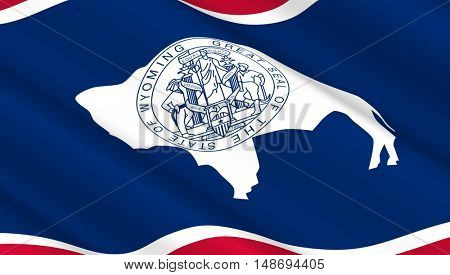 Waving flag of Wyoming state. 3D illustration.