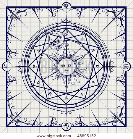 Sketch of alchemy magic circle on notebook background. Vector illustration