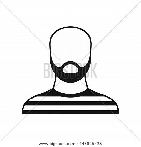 Bearded man in prison garb icon in simple style on a white background vector illustration