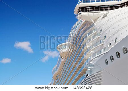 Side view of cruise ship on the blue sky background