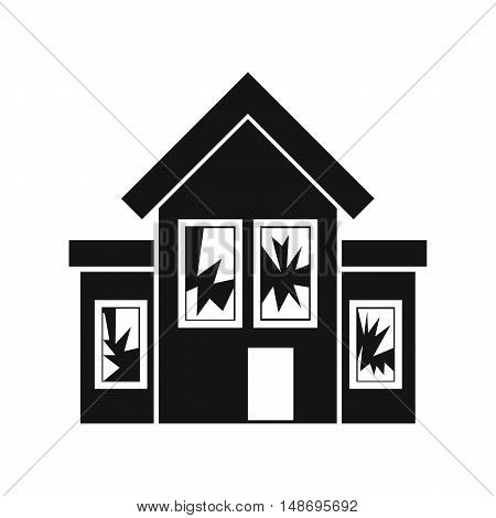 House with broken windows icon in simple style on a white background vector illustration