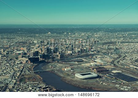 Newark downtown viewed from air in New Jersey.