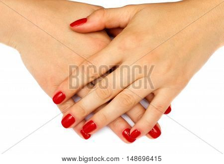 Women hands on a white background .