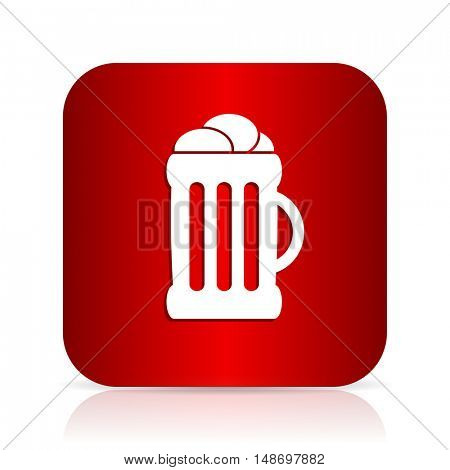 beer red square modern design icon
