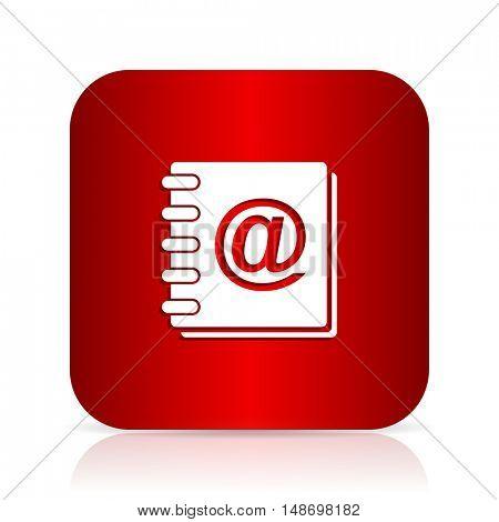 address book red square modern design icon