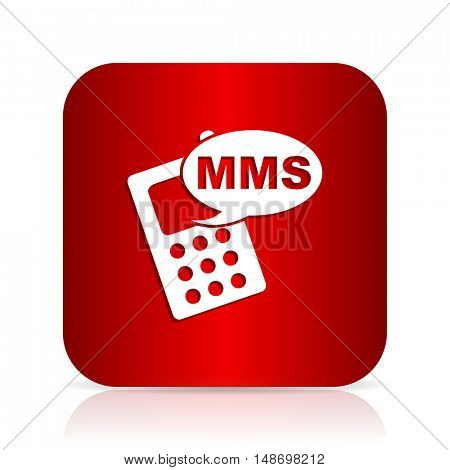 mms red square modern design icon